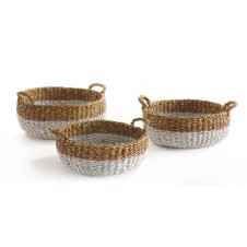 seagrass shallow basket w/ handles, assorted