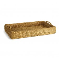 seagrass low tray w/ handles