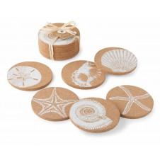 mud pie shell printed cork coasters