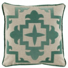 lacefield sultana applique viridian velvet pillow on heavy basket