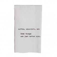 coffee chocolate men flour sack towel