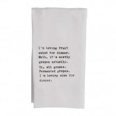 wine for dinner flour sack towel