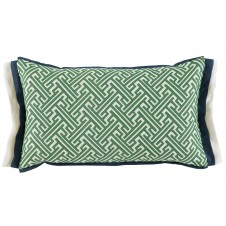 lacefield trellis kelly lumbar pillow with navy and oyster linen double flange