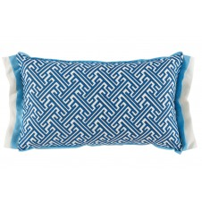 lacefield trellis cobalt lumbar with sky and oyster linen double flange pillow