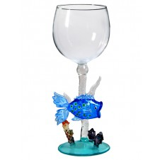 blue-barred fish wine glass