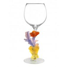 purple coral & clown fish wine glass