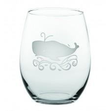 whale stemless wine glass