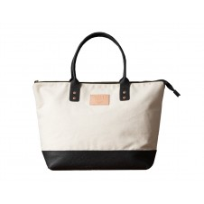 will leather goods getaway canvas tote