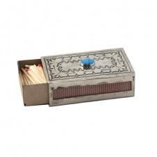 navajo stamped silver matchbox cover with turquoise
