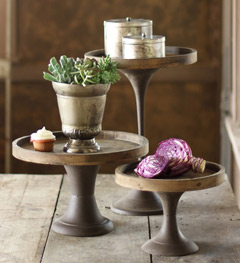 set of 3 wood and metal pedestals