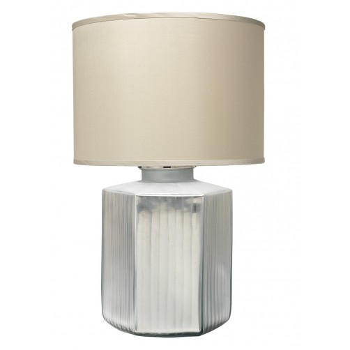 jamie young anderson silver frosted glass table lamp w/ large drum shade