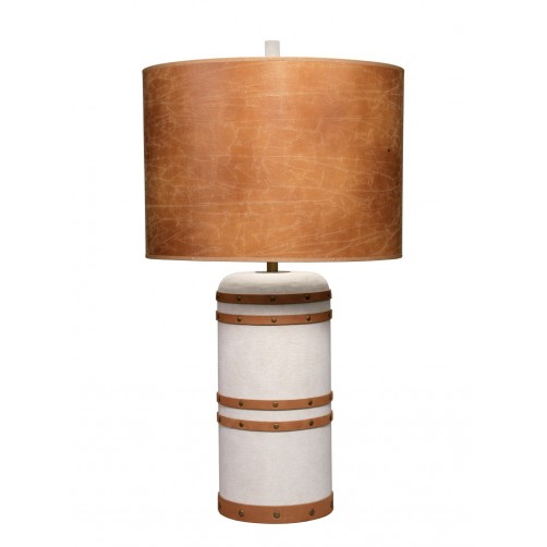 jamie young barrel table lamp w/ leather shade