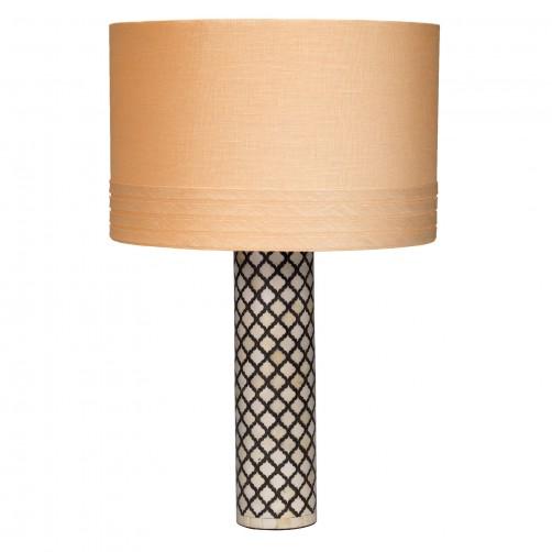 jamie young mughal bone table lamp w/ medium banded drum shade