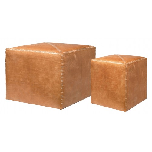 buff leather ottomans