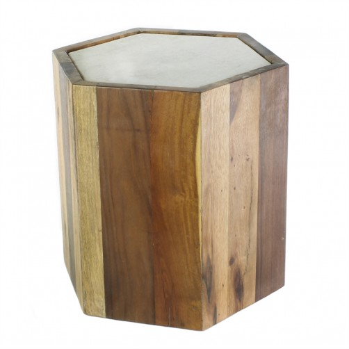 homart reclaimed wood hexagon table w/ marble top