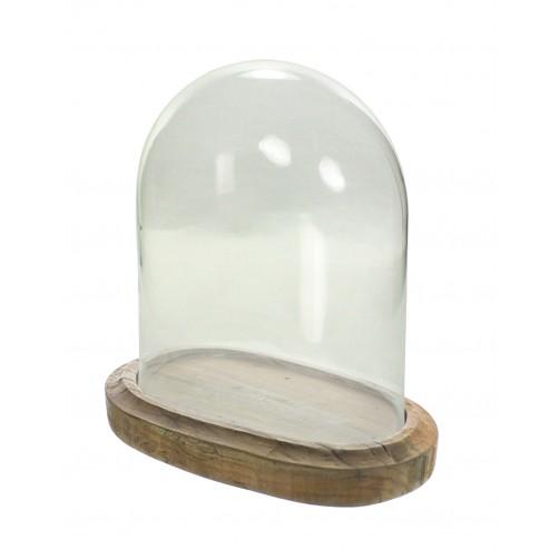 homart arcadia oval wood base w/ glass dome, large