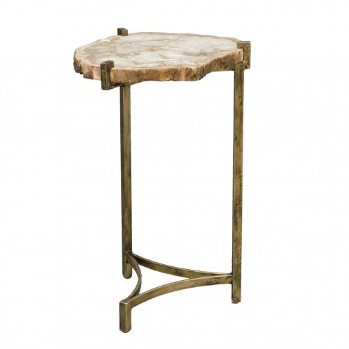 palecek petrified wood slide side table