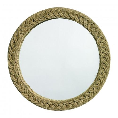 braided round jute mirror