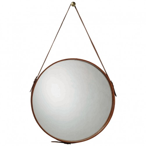large round leather mirror