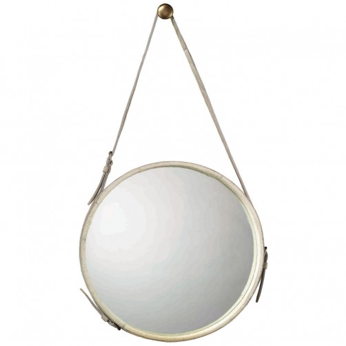 large round white leather mirror