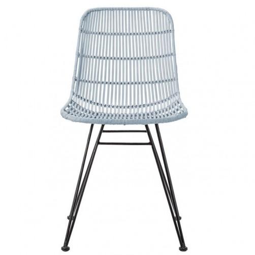 sky blue braided rattan chair