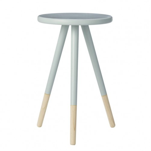 sky blue & natural round wood table