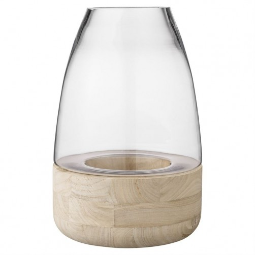 """glass lantern w/ wood base 10"""""""