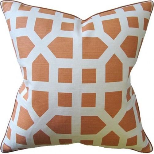 avignon trellis orange pillow