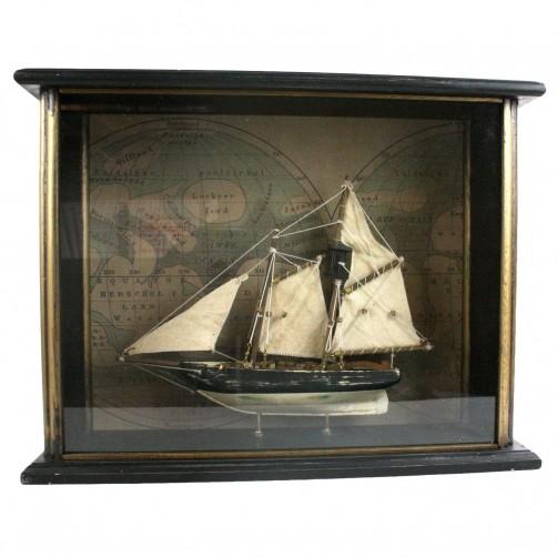 american sailboat in wood shadowbox