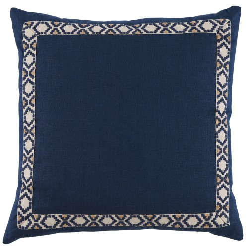 lacefield navy linen with navy on off white camden tape pillow