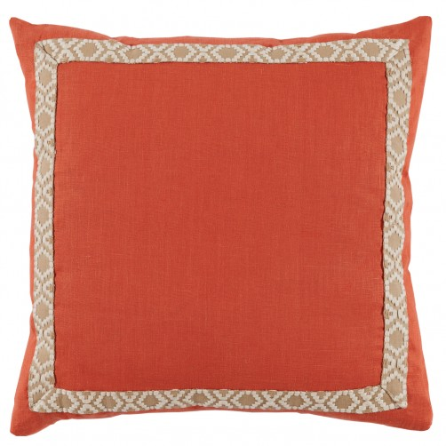 lacefield spice linen with off white on tan camden tape pillow