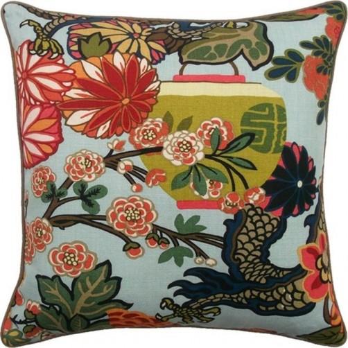 chiang dragon aquamarine pillow