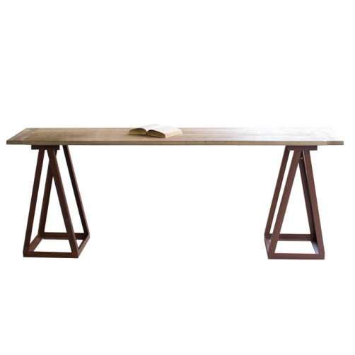 wooden top console table with iron saw horse base