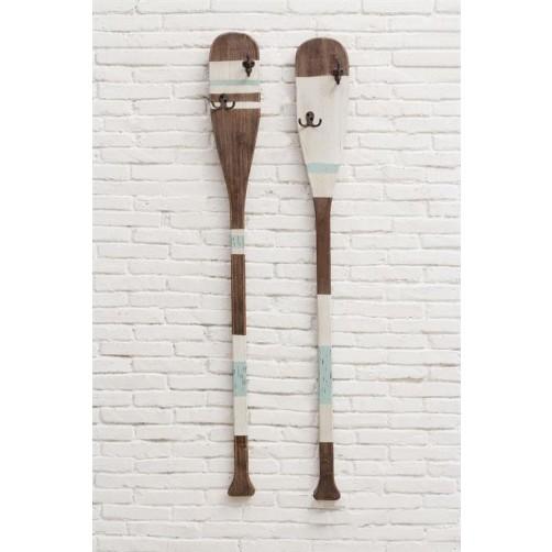 wood paddle wall decor with hooks