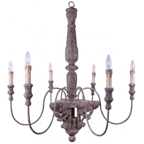 carved wood and metal chandelier