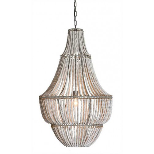 white wash metal and wood beads chandelier