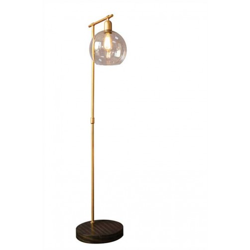 metal & wood floor lamp w/glass shade