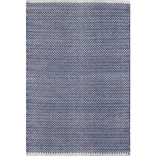 dash & albert herringbone indigo woven cotton rug