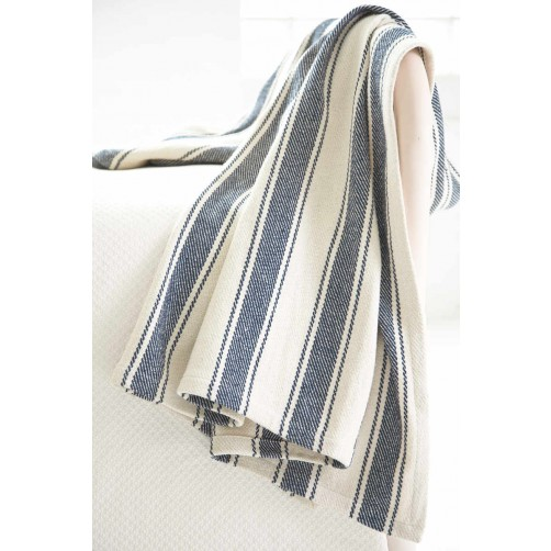 dash & albert blue awning stripe woven cotton throw