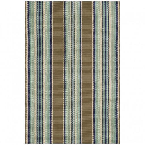 dash & albert blue heron stripe woven cotton rug