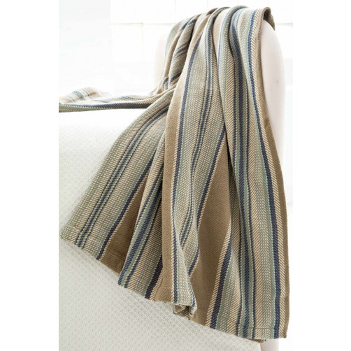dash & albert blue heron stripe woven cotton throw