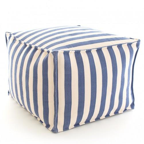 dash & albert trimaran stripe denim ivory indoor/outdoor pouf