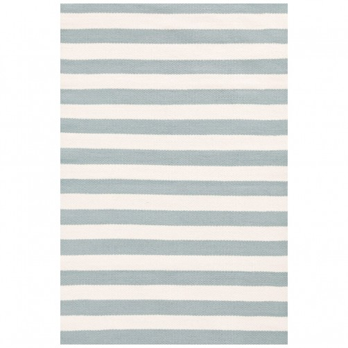 dash & albert trimaran stripe light blue ivory indoor/outdoor rug