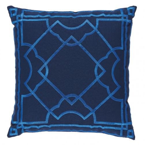 lacefield gatsby pacific embroidery on navy pillow