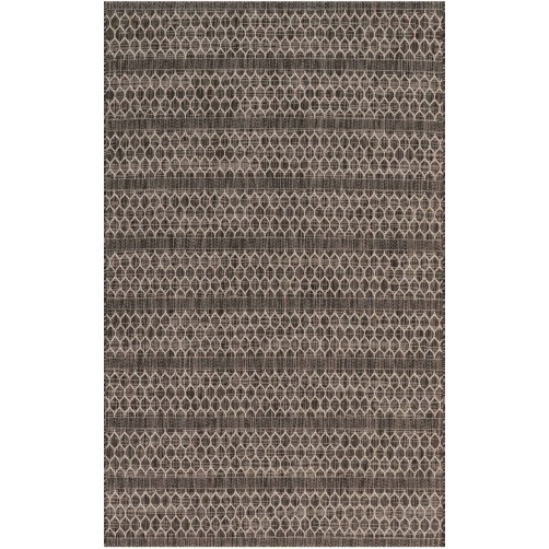 isle collection black & grey lattice polypropylene rug