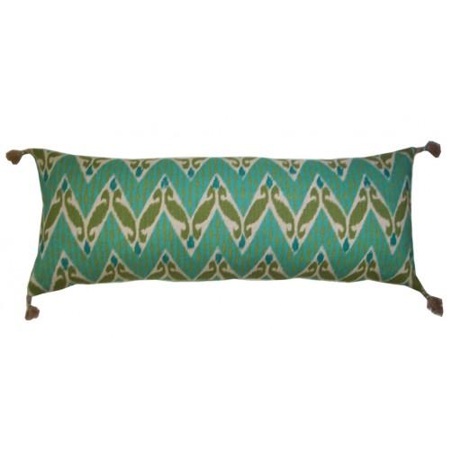 lacefield zig zag ikat aqua pillow with tassels