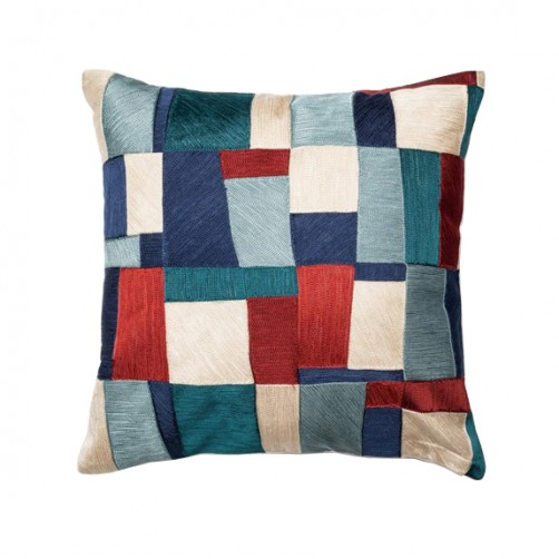 blue & multi colored patchwork pillow