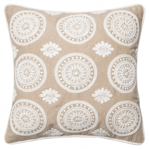 embroidery beige & white floral mandala pillow