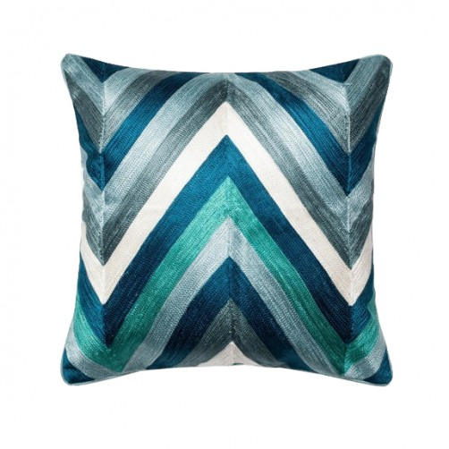 jacquard blue multi chevron pillow
