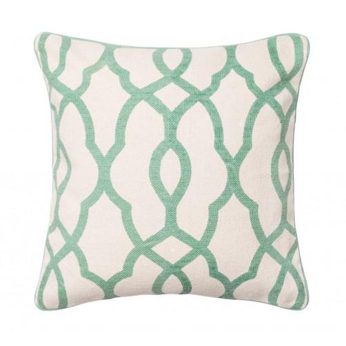 ivory & light green trellis pillow